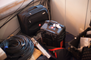 Loads of cables and cases.