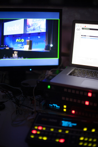 The office. Analogway Pulse, Kramer scaler and a Mac Book Pro with QLab as media player.