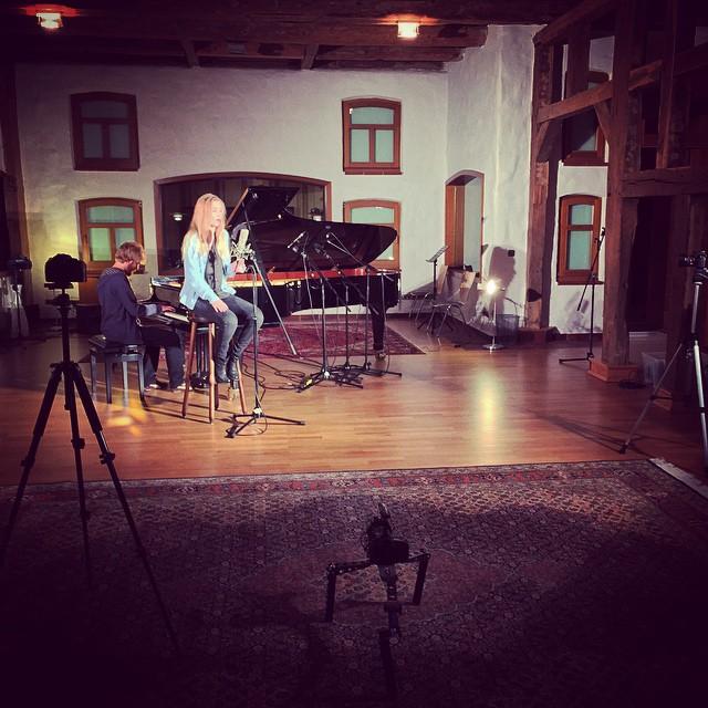 "Filming a session for singer/songwriter ""Svenja"" …"